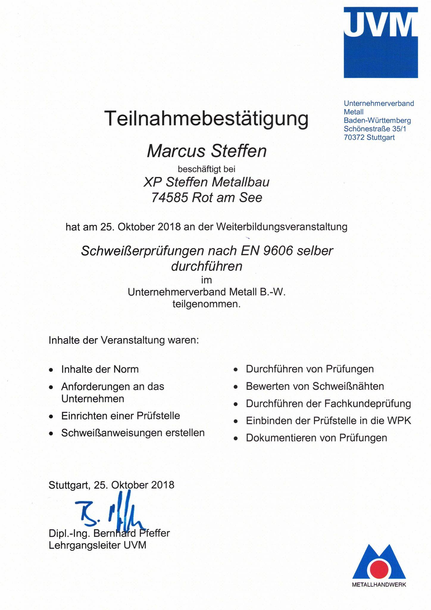 Zertifikat Abnahme und Ausstellung von Schweißerprüfungen