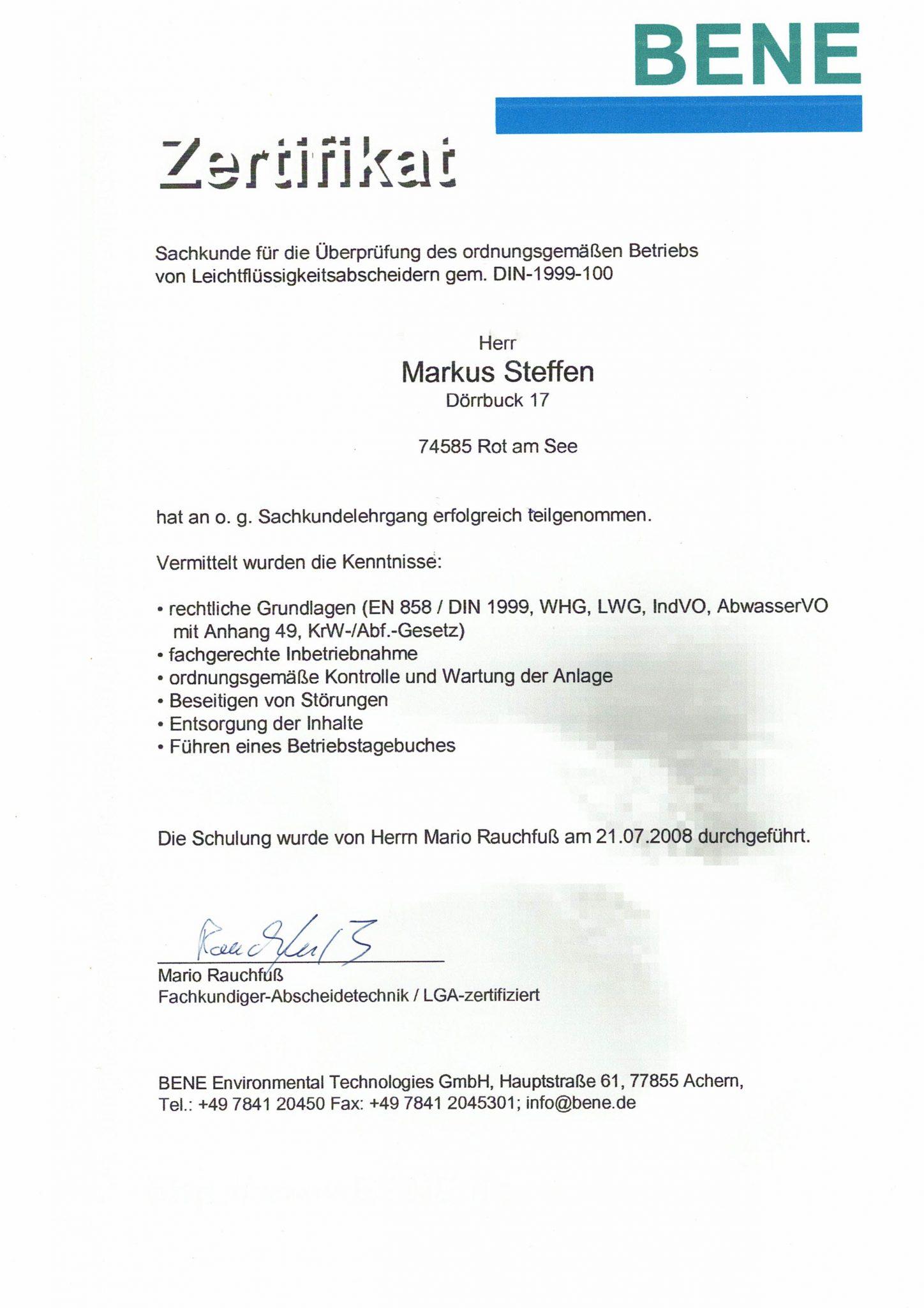 Zertifikat BENE Abscheideranlagen