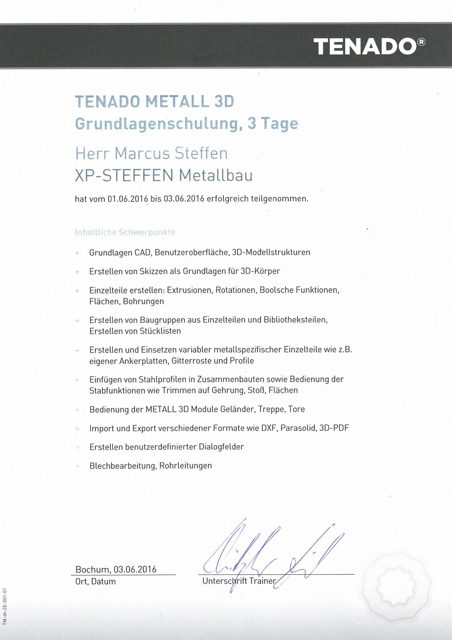 Zertifikat CAD TENADO