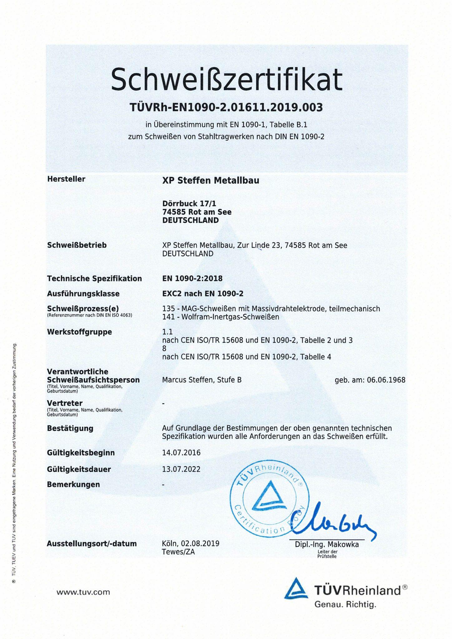 Zertifikat EN1090 Schweißfachbetrieb