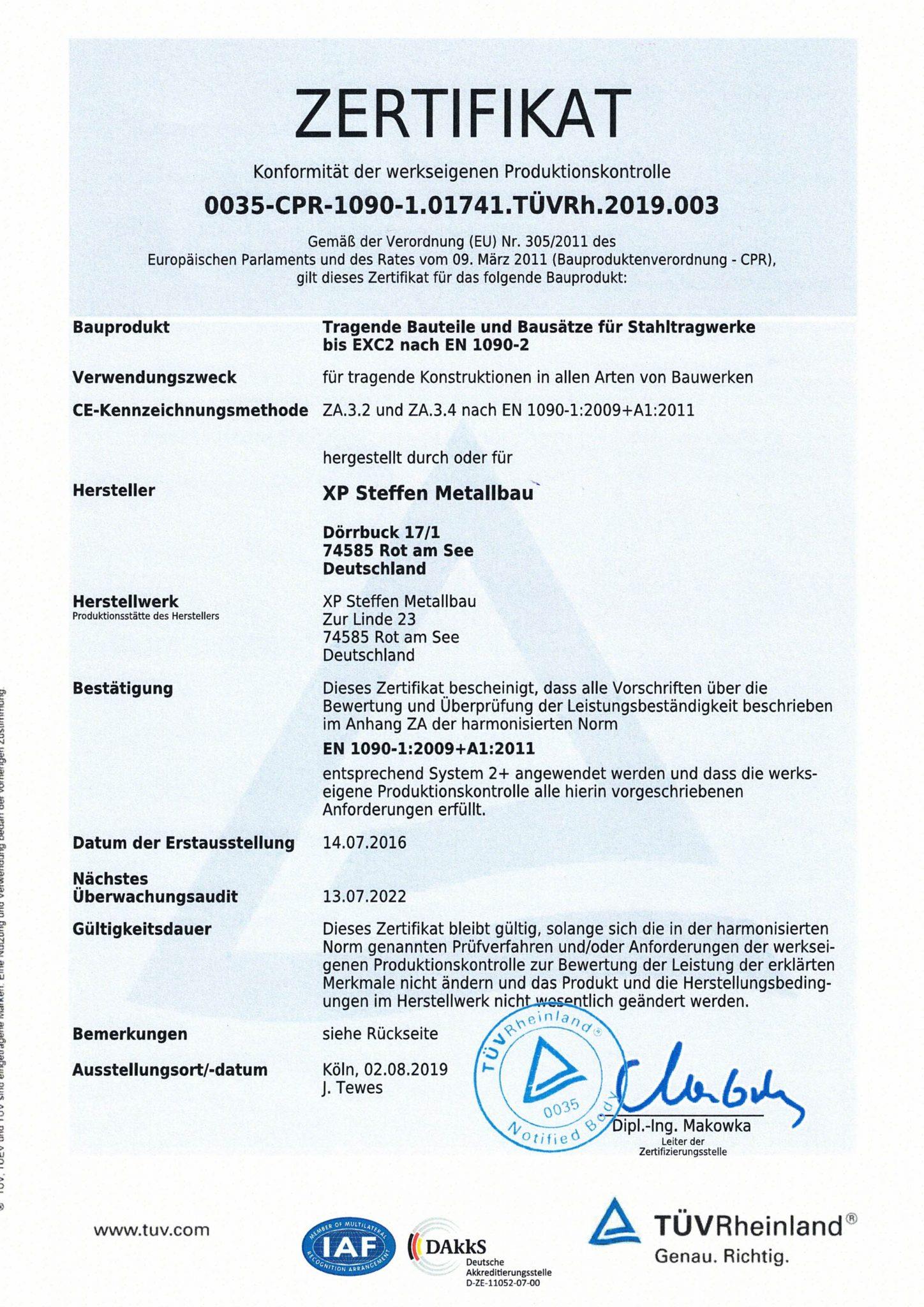 Zertifikat EN1090 WPK