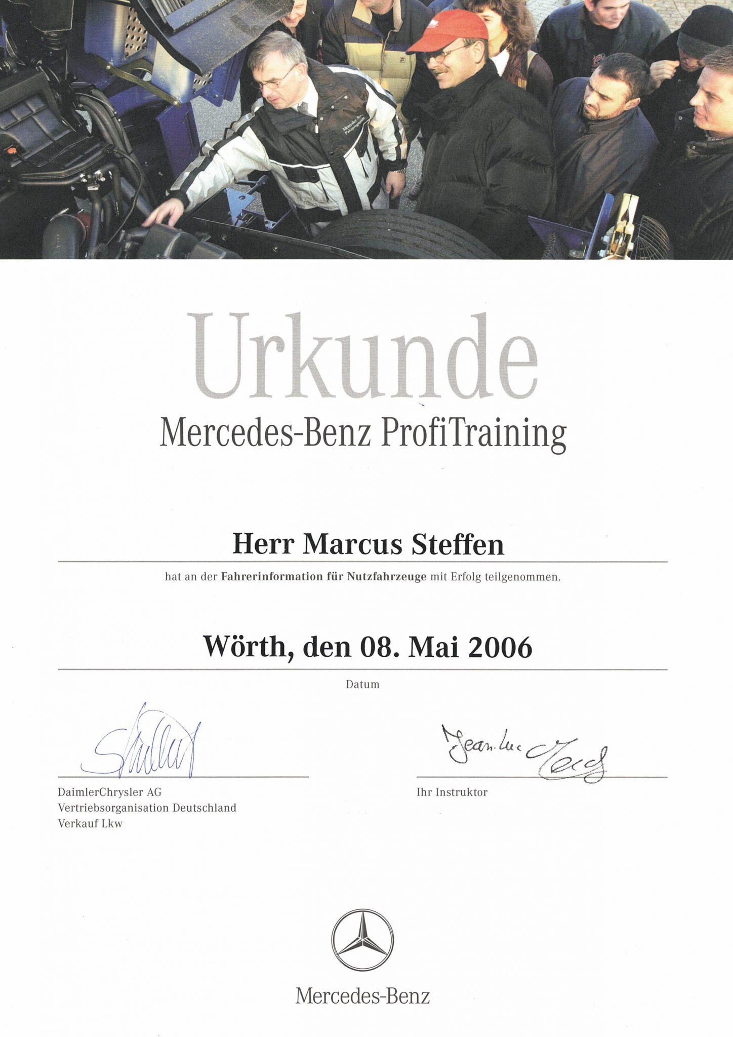 Zertifikat MB Fahrertraining