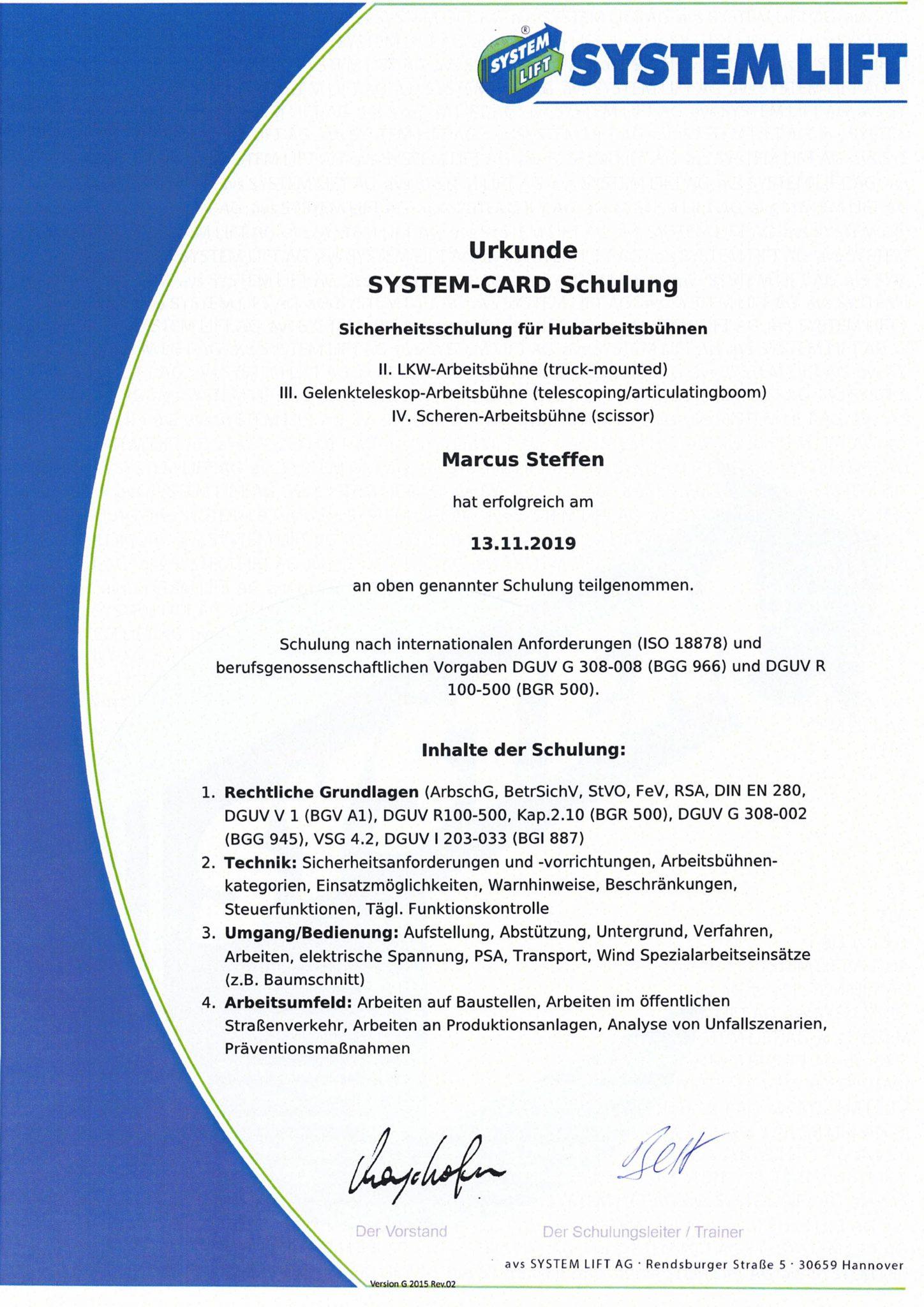 Zertifikate verschiedener Arbeitsbühnen XP und Lars-1