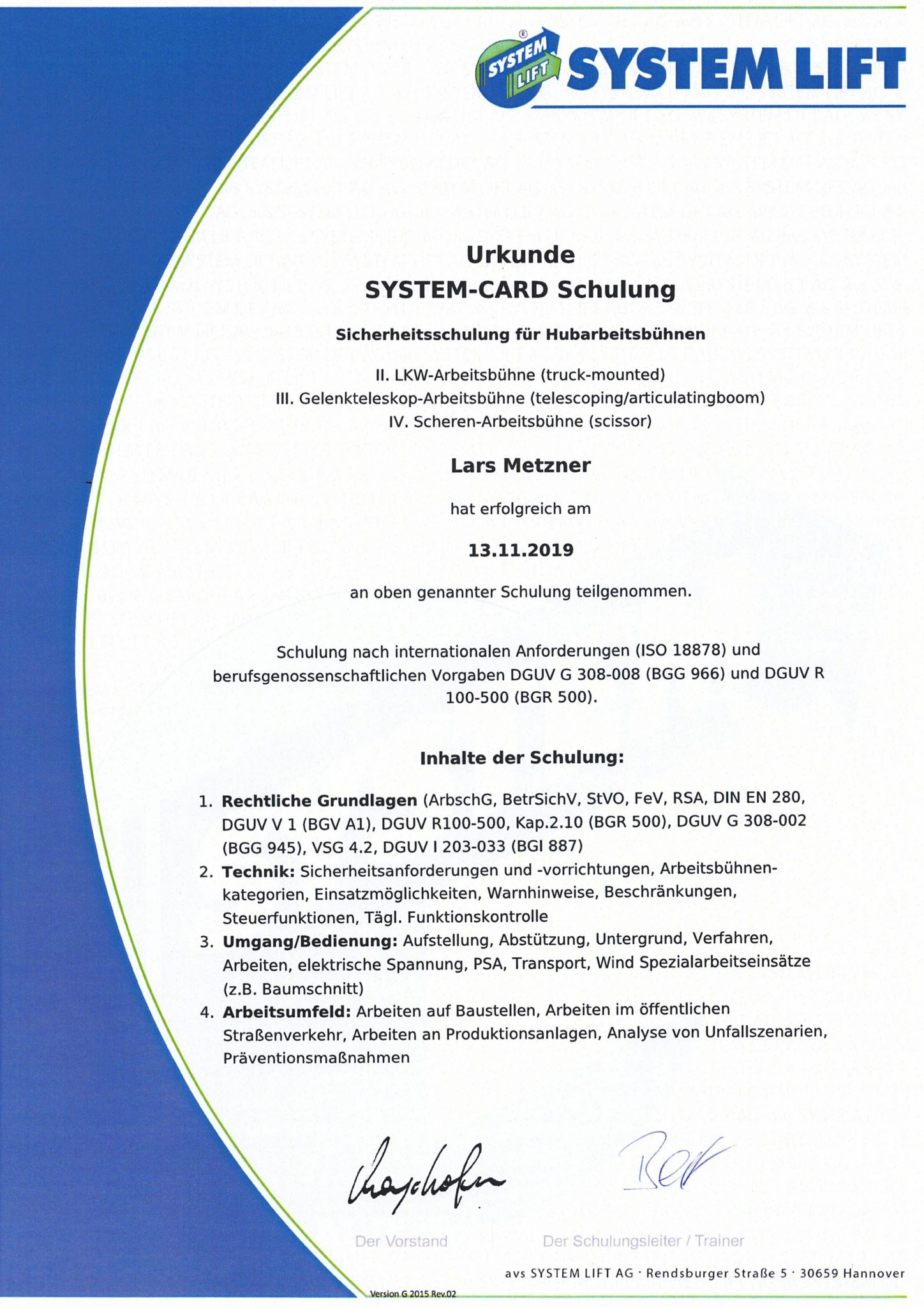 Zertifikate verschiedener Arbeitsbühnen XP und Lars-2